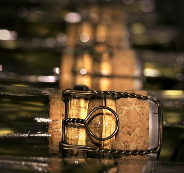 Bouchon de champagne dans les caves du champgne Gasmar