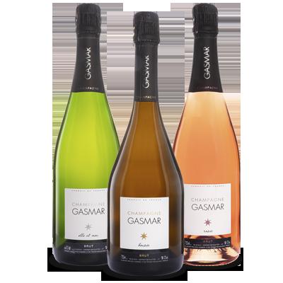 Bouteilles de champagne Gasmar Elle et Moi, Boisée, Rosée.
